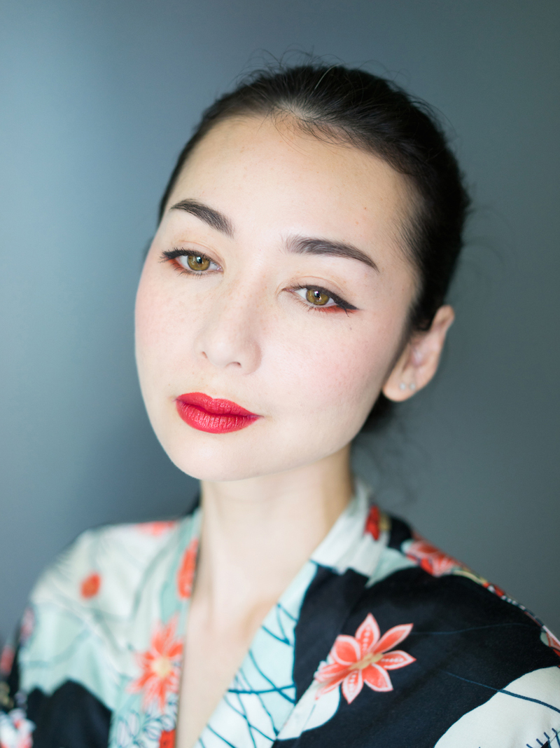 red lips and winged liner, asian style