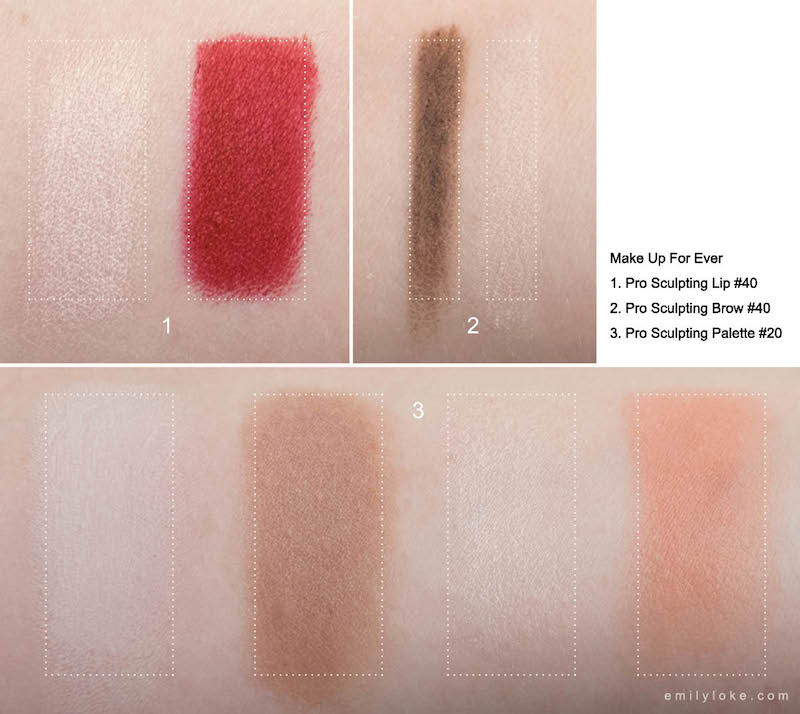 make up for ever pro sculpting palette lip brow swatches