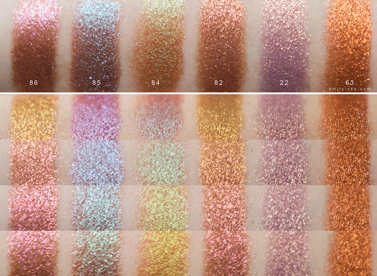 Inglot pigment duochrome swatches