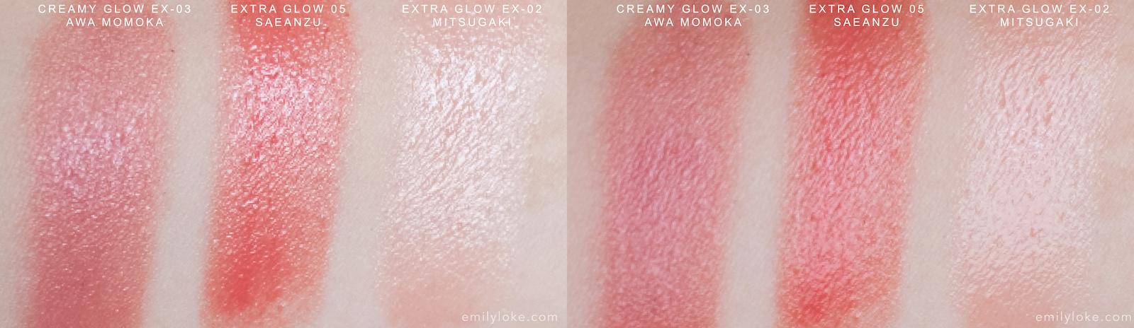 SUQQU extra glow lipstick swatches 02