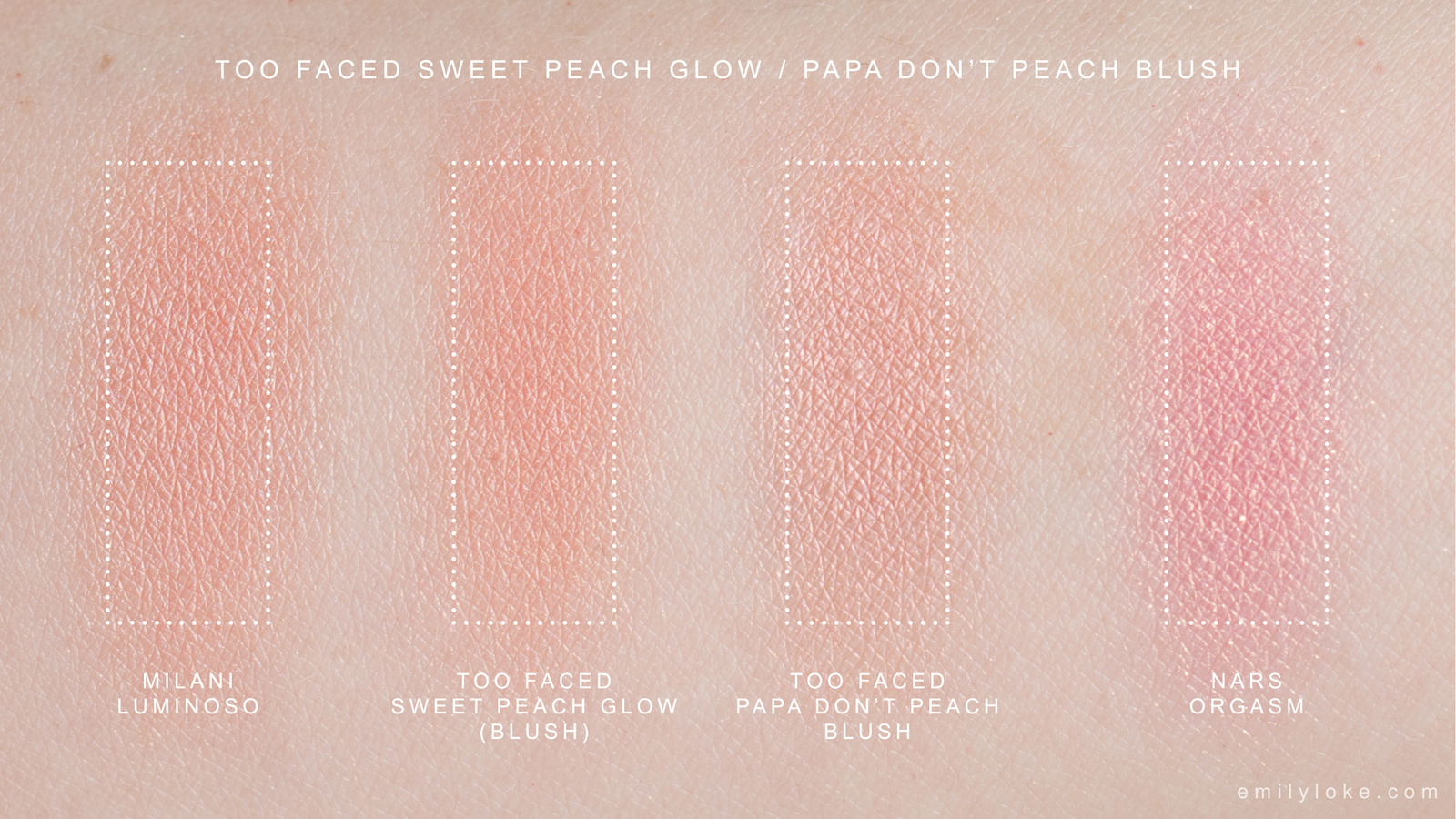 Too Faced Sweet Peach Glow Papa Don't Peach swatches 2