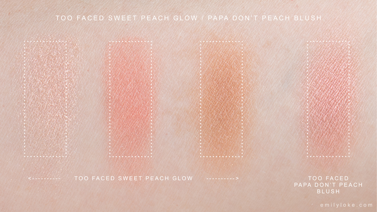 Too Faced Sweet Peach Glow Papa Don't Peach swatches