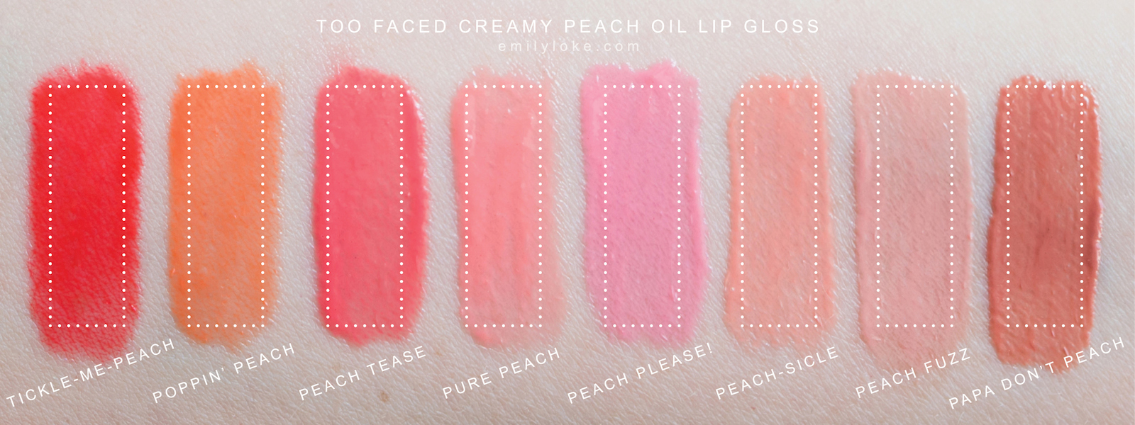 too faced peach oil lip gloss swatches