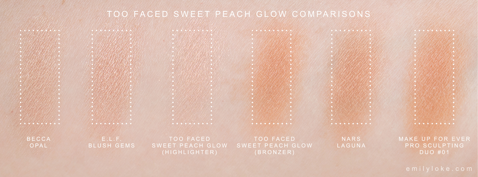 too faced sweet peach glow swatches