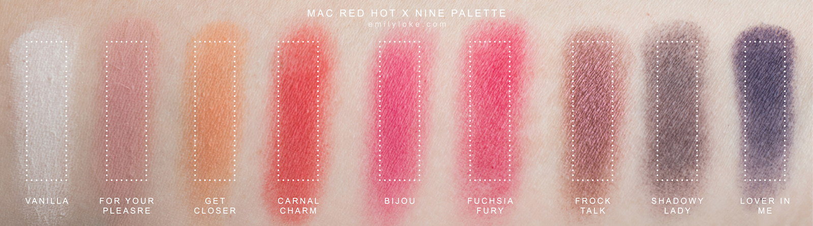 MAC Red Hot Times Nine Swatches