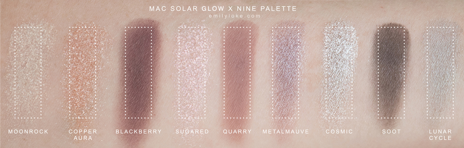 MAC Solar Glow Times Nine Swatches