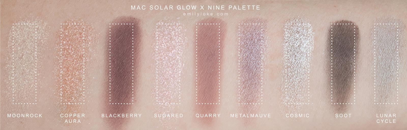MAC Solar Glow Times Nine Swatches