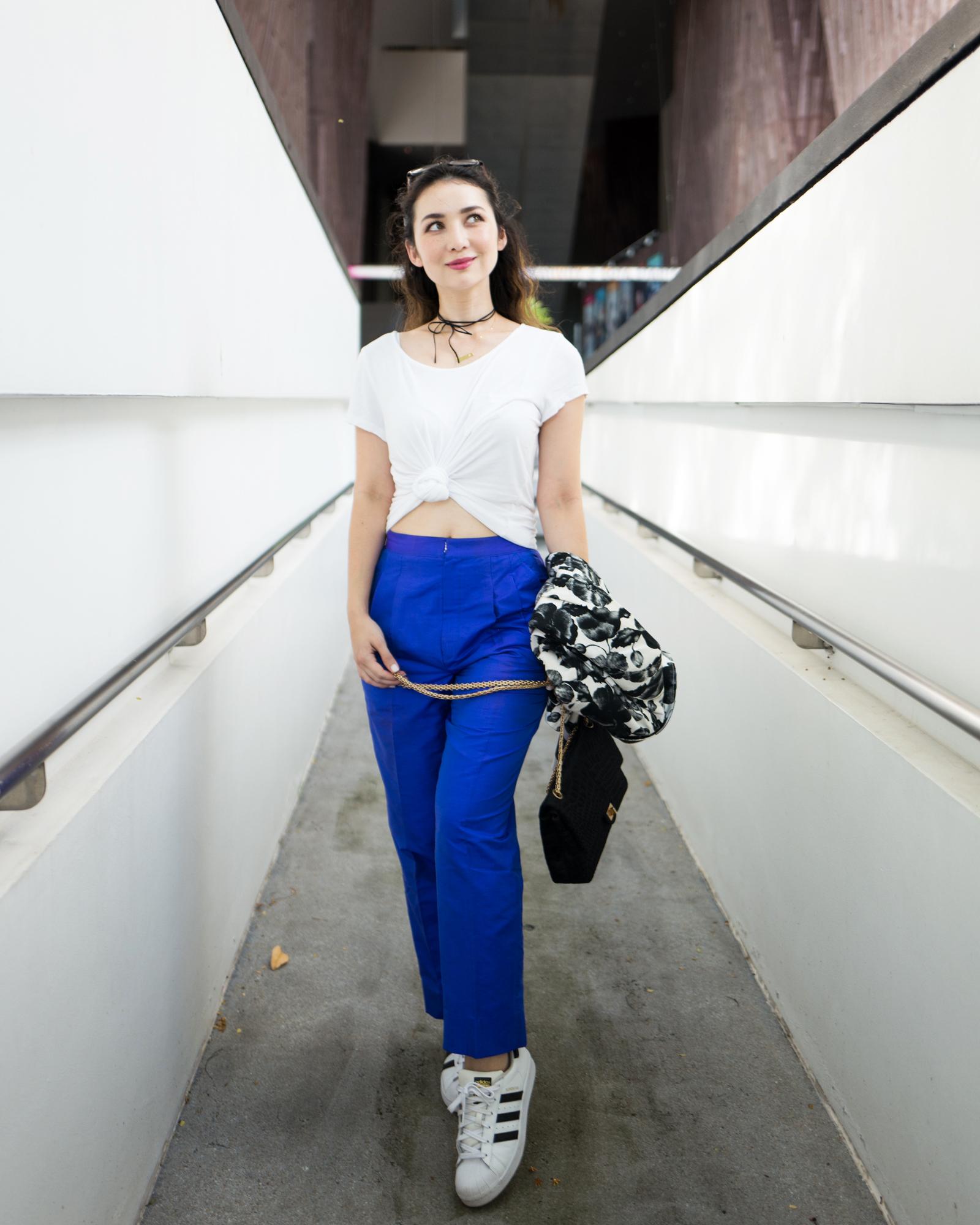 blue pants ootd 2