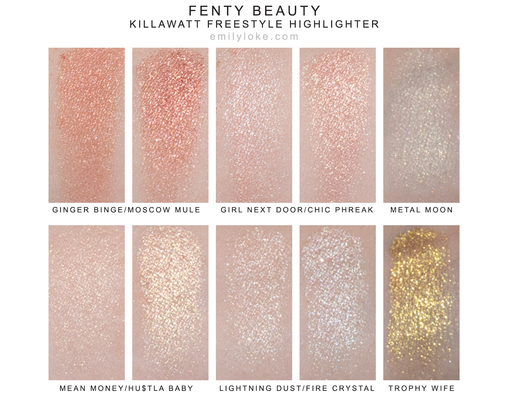 fenty beauty killawatt freestyle highlighter swatches
