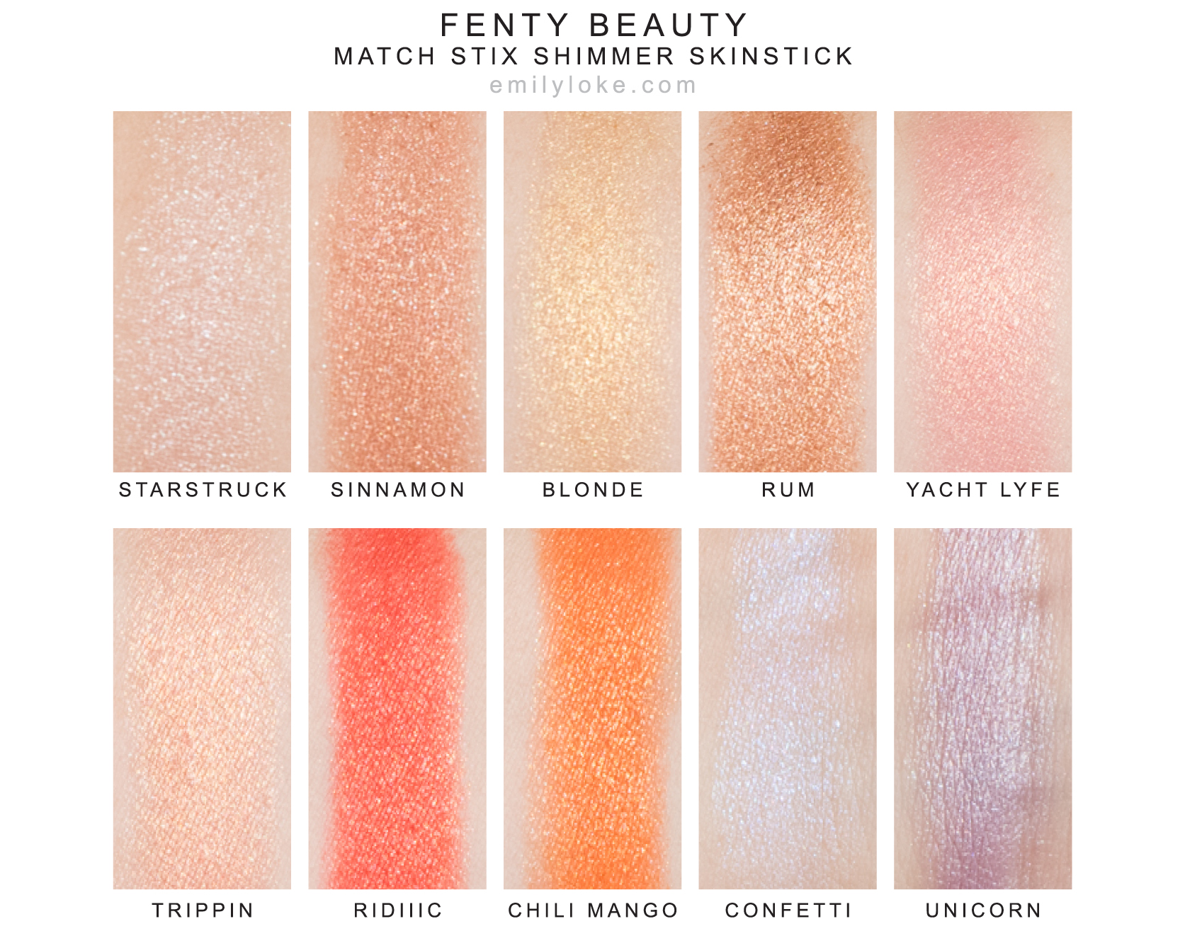 fenty beauty match stix shimmer skinstick highlighter swatches