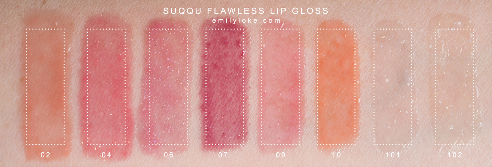 suqqu flawless lip gloss swatches